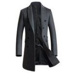 Оригинал Mid Long Тонкий Шерстяное пальто с двойной грудью Стильная траншея