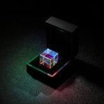 Оригинал 20mm / 23mm Crystal Cube Combiner Prism X-Cube Оптическое стекло Физический RGB Дисперсионный сплиттер Подарок Коробка