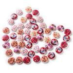 Оригинал 100PCSПечатныйраундШаблонДеревянная кнопка Смешанная 2 отверстия Естественная швейная ручная одежда Кнопки