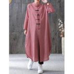 Оригинал Женское Плед Пластина Пряжка с длинным рукавом Рубашка Платье