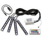Оригинал 4Pcs Авто Интерьер LED Потолочный светильник для пола Декоративная атмосфера Лампа USB Wireless Дистанционное Управление RGB