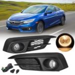 Оригинал Пара Авто Передний бампер Противотуманные фары Набор с жгутом прожектора Янтарный для Honda Civic 2 / 4Dr 2016-2017