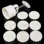 Оригинал Пресс-форма для круглого лунного пирога с пресс-формами DIY ручной формы для печати форм 75 г с 8 марками