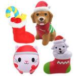 Оригинал 4PCS Рождественский подарок Squishy Sock Puppy Собака Рождественский носок Smile Кот Кукла Jumbo Toys