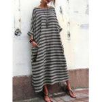 Оригинал Plus Размер Casual Crew Шея Batwing Sleeve Stripe Loose Платье