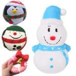 Оригинал Набор 4in1 Рождественский подарок Пингвин 2 вида Снеговик Санта Розовый Jingle Bell Squishy Toys