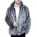Оригинал Mens Faux Fox Fur Coat Stand Воротник Толстый теплый пушистый куртка