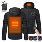 Оригинал S / M / 4XL Mens USB с подогревом Теплый задний шейный пояс с капюшоном Зимняя куртка мотоцикл Лыжный верховой жилет