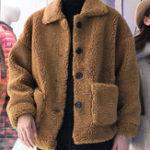 Оригинал Mens Teddy Woolen Solid Color Button Теплый толстый хаки-куртка