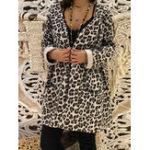 Оригинал Женское Модные Leopard Print с капюшоном Outwear Coats