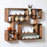 Оригинал Винтаж Деревянный плавающий кронштейн для полки стены Paulownia Wood Square Shelves DIY Дисплей Holder