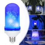 Оригинал AC85-265V 4 режима E27 Blue LED Flicker Flame Light Ball Simulated Burning Fire Effect Festival Лампа