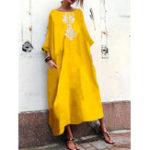 Оригинал Женское Экипаж Шея Loose Baggy 3/4 Sleeve Floral Maxi Платье