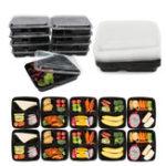 Оригинал 10Pcs Prep Lunch Коробка 3 отсека пластиковых многоразовых кухонных микроволновых контейнеров для хранения пищевых продуктов
