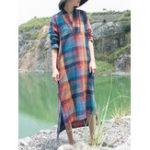 Оригинал Женское Плед V-образным вырезом с длинным рукавом Винтаж Maxi Платье