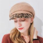 Оригинал Женское Зимняя шерстяная леопард Печать Brim Beret Vogue Slouch Cap