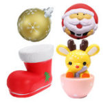 Оригинал 4PCS Рождественский подарок Squishy Teacup Deer 14CM Santa Claus 7CM Snow Boot 11CM Gold Ball 9CM