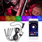Оригинал 4Pcs LED Авто Внутренняя отделка освещает напольную атмосферу Light Strip Phone App Control Colorful RGB