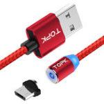 Оригинал TOPK R-Line2 Реверсивный Micro USB LED Магнитный плетеный быстрый кабель для передачи данных 1M для планшета для телефона