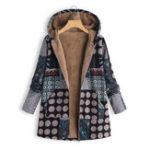 Оригинал Polka Dot Fluffy Fleece Толстая цветочная печать Винтаж Пальто