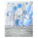 Оригинал 3x5FT 5x7FT Виниловая синяя Воздушный шар Деревянная фотография Фотография Фон Студия Prop