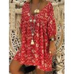 Оригинал Повседневная цветочная печать V-образным вырезом Loose 3/4 Sleeve Платье для Женское