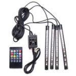 Оригинал 4Pcs USB LED Авто Внутренние огни украшения RGB Пол Атмосфера Light Strip Музыкальный контроль Neon Лампа