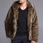Оригинал Мужские искусственные меховые пальто Зимняя теплая стильная пуховая куртка с капюшоном