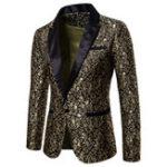 Оригинал Мужская жаккардовая печать Chic Платье Костюмная куртка Этап Blazers