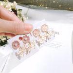 Оригинал Серебро 925 Роскошные Женское Серьги Розовый Цветущие цветы
