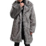 Оригинал Mens Faux Fur Coat Mid Long Winter Warm Furry На открытом воздухе Parka