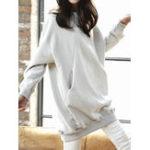 Оригинал Женское Осень Loose пуловеры сплошной цвет длинные толстовки