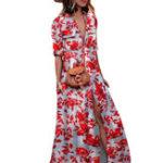 Оригинал Женское Half Sleeve Сексуальный Split Boho Floral Maxi Платье