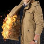 Оригинал Мужская зимняя руна, утолщенная теплым съемным капюшоном Parka Jacket