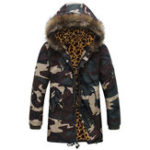 Оригинал Мужчины Camo Mid Long Drawstring Карманы Furry Hood Толстая куртка
