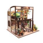 Оригинал Handcraft DIY Кукла House Time Cafe House Деревянная миниатюрная мебель Светодиодный Подарок