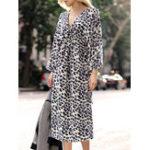 Оригинал Casual Женское Loose Print V-образным вырезом с длинным рукавом Платье