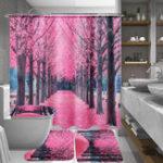Оригинал SakuraFloralВодонепроницаемыВаннаякомнатаЗанавеска для душа Крышка сиденья Крышка Коврик для ванной Крюк