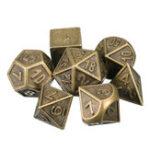 Оригинал 7шт. Тисненые тяжелые металлические многогранные кубики RPG Многогранные кубики с Сумка