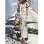 Оригинал Plus Размер Boho V-образным вырезом с коротким рукавом Женское Maxi Платье