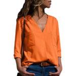 Оригинал Повседневная Женское однотонная блузка с длинным рукавом с v-образным вырезом