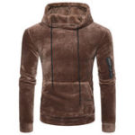 Оригинал Mens Coral Fleece Casual Zipper Hoodies Sweatshirts