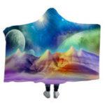 Оригинал 3DодеяласкапюшономColorfulPlanet Warm зимние носимые плюшевые коврики Nap Soft дорожные коврики