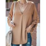 Оригинал Женское Нерегулярная блузка с V-образным вырезом и регулируемым рукавом