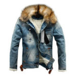 Оригинал Mens Winter Fleece Lining Furry Collar Denim Jacket