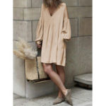 Оригинал Женское с длинным рукавом V Шея Pure Color Платье