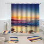 Оригинал ВодонепроницаемыДушеваязавесаNon-SlipRugThree Set Ванная комната Декор Blue Ocean Заходсолнца