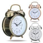 Оригинал Classic Бесшумный Ретро Бесшумный Будильник с двойным звонком Часы Кварцевый механизм Мини-кровать для спальни Ночной свет Стол для стола Час