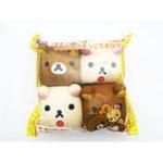 Оригинал 4PCS Продовольственная Squishy Рилаккума Тофу 6 * 6 * 4CM Cute Bear Jumbo Подарочная коллекция с упаковкой