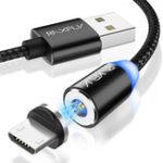 Оригинал RAXFLY Плетеный 2A 1M 2M магнитный Micro USB быстрый зарядный кабель для передачи данных Samsung Xiaomi